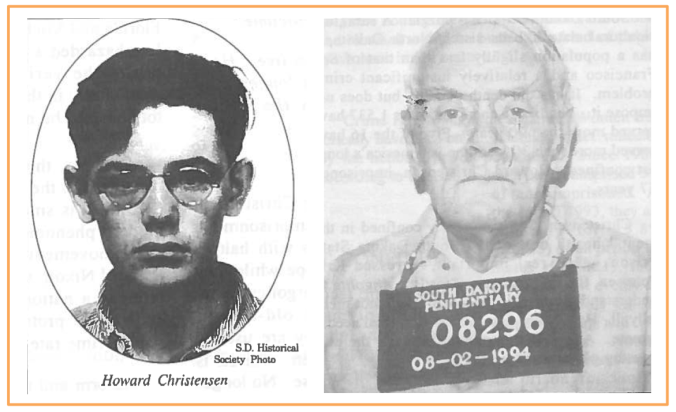 "Howard Christensen before and after: at the time of his capture in 1937, and 57 years into his 64-year stretch. ""I had life for murder, and they cut it to 200 years..."""