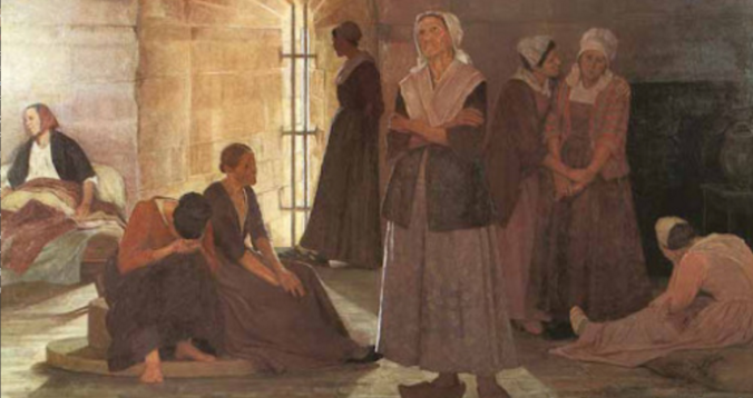 A modern painting, by Jeanne Lombard, showing Durand (arms crossed) and her co-religionists part-way through their sentences in the Tour de Constance in Aigues-Mortes.