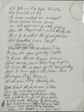 Johnny Cash's handwritten lyrics for the song Michigan City Howdy-Do sold at auction in December 2010, fetching $1,280.