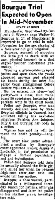 Walter Bourque's case reported in New Hampshire's Nashua Telegraph, 20 September 1955.