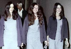 Patricia Krenwinkel, centre, seen at the time of her trial. She is flanked by fellow Manson family members Susan Atkins (died in jail 2009) and Leslie Van Houten.
