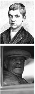 Jesse Pomeroy, before and after: in 1874, at the time of his conviction, and 1929, 54 years into his stretch, while being transferred to Massachusetts's state mental hospital.