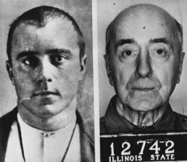 Richard Honeck before and after: mugshots taken at the time of his arrest (1899) and his parole (1964).