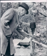 Richard Honeck feeds a squirrel after release