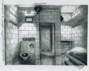 """Silverstein taught himself to draw during his lengthy stretch of solitary. This is his own drawing of his cell in America's """"supermax"""" AMX jail in Atlanta."""
