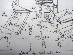 Herman Wallace's sketch of his solitary confinement cell. The obsessive interest evident in its dimensions may be a product of 40 years spent within its four walls.