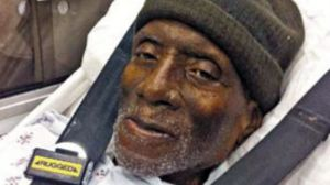 Herman Wallace, freed strapped to a gurney just three days before his death from cancer.