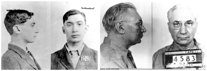 William Holly Griffith before and after: mugshots taken at the time of his arrest in 1915, and after 44 years inside. Griffith went on to serve a further 12 years before dying, still in jail.