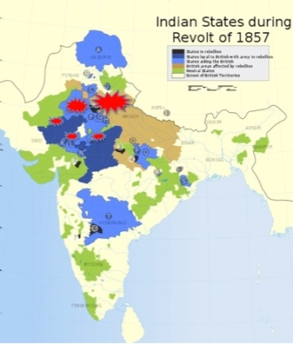 The uprising spread through much of the northern provinces of India, but left most of the territories of teh Bombay and Madras Presidencies untouched. Click to enlarge.