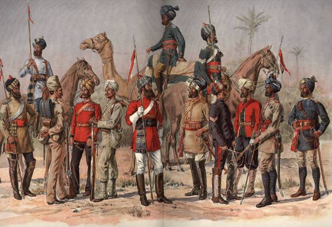 Men from various regiments in the army of the Presidency of Madras. In 1857 – unlike in 1806 – the Madras forces remained loyal.