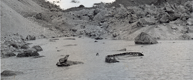 The unidentified whaler or ship's lifeboat found abandoned on Bouvet Island on 2 April 1964