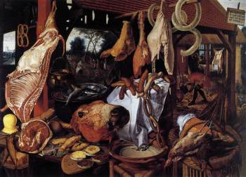 A butcher's stall, from a 1551 painting by the Dutch master Pieter Aertsen.