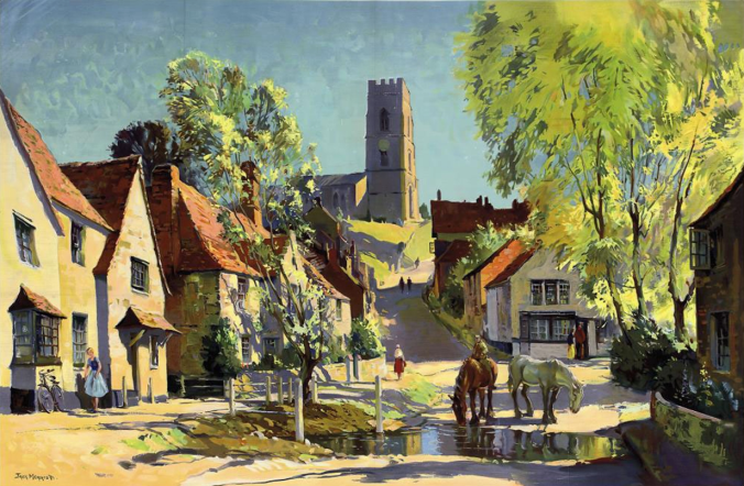 Kersey in 1957. Although Jack Merriott's watercolor presents an idealized image of the village – it was commissioned for use in a railway advertising campaign – it does give an idea of just how 'old' Kersey must have looked to strangers in the year it became central to a 'timeslip' case.
