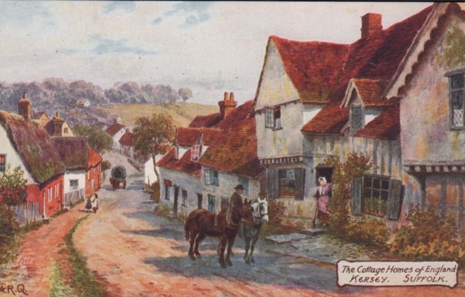 Another look at old Kersey. This postcard, painted by AR Quentin and published by Raphael Tuck & Son of Ipswich, dates to c.1912.