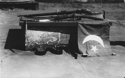 The Turkish flag flown, and rifles used, by Mullah Abdullah and Gool Mohammed in their two-man war against the British empire launched at Broken Hill, New South Wales, on 1 January 1915