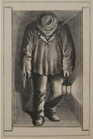 A Cornish miner in Richard Trevithick's cramped driftway.