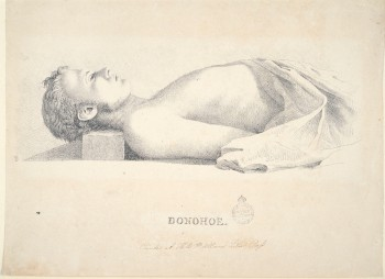 """The bushranger Bold Jack Donohoe in death, soon after he began raiding farms in the hope of obtaining sufficient supplies to set out in search of the """"white colony"""" believed to exist somewhere in Australia's interior."""