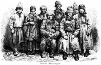 "Finnish peasants from the Arctic Circle, illustrated here after a photograph of 1871, told tales of the Chuds; in some legends they were dwellers underground, in others invaders who hunted down and killed native Finns even when they concealed themselves in pits. It is far from clear how these 17th-century troglodytic legends morphed into tales of the paradisiacal underground ""Land of Chud"" reported by Orlando Figes."