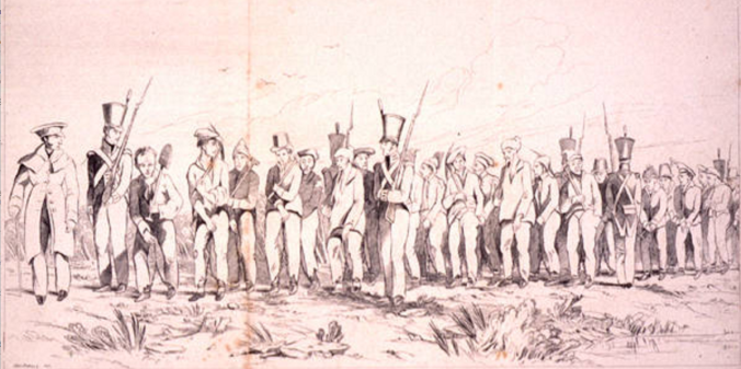 Asutralian convicts formed into a chain gang – a sketch made near Sydney in 1842.