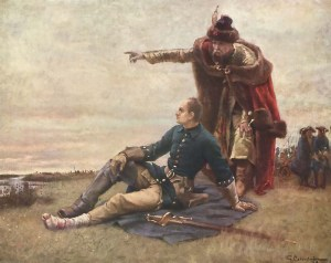 Charles XII and his ally, the Cossack hetman Ivan Mazepa, take stock after the Battle of Poltava (1709). The king's wounded foot prevented him from commanding in battle.