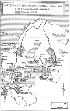 The Swedish empire before 1721, showing the dates at which various territories were added and lost. Click twice to view in higher resolution.