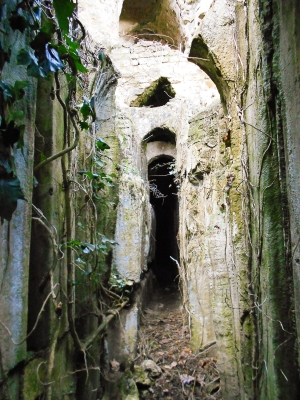 The entrance to the Great Antrum – an easily-missed sliver in the midst of a larger Graeco-Roman temple complex.