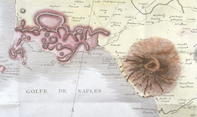 The Phlegræan Fields (left) and Mount Vesuvius, after Scipione Breislak's map of 1801. Baiae lies at the northeastern tip of the peninsula of Bacoli, at the extreme westerly end of the Fields.