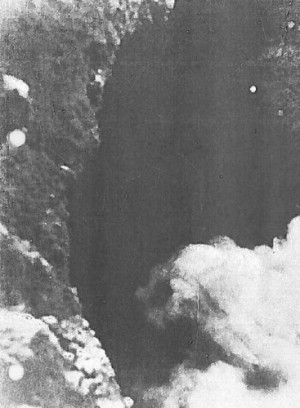 """One of the two boiling springs that feed the """"Styx,"""" photographed in 1965, 250 feet beneath the surface, by Colonel David Lewis, U.S. Army."""