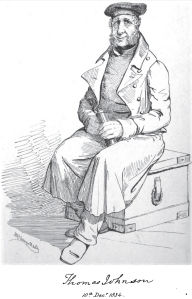 Tom Johnson, the famous smuggler, adventurer, and inventor of submarines, sketched in 1834 for the publication of Scenes and Stories by a Clergyman in Debt.