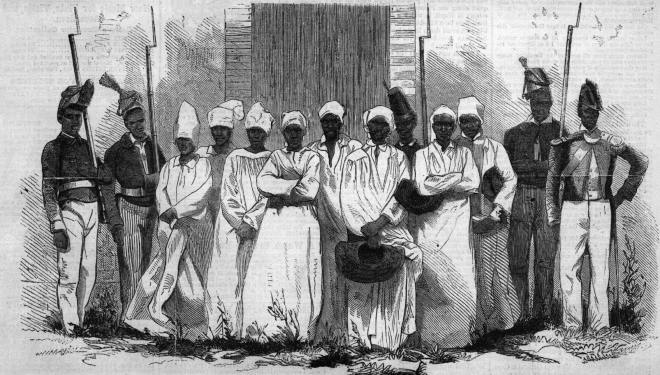 An engraving–probably made from a contemporary photograph–shows the eight Haitian