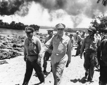 General Douglas MacArthur arrivbes on Morotai. The island witnessed fierce fighting after the American landings in September 1944.
