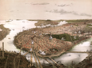 Boston and its harbor in 1877.