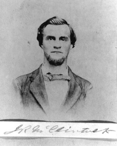 Submarine inventor James R. McClintock as he looked in the later 1870s, from a carte de visite photographed in New Albany. McClintock was living in the Illinois town when he journeyed to Boston in February 1879–apparently to meet his end there.