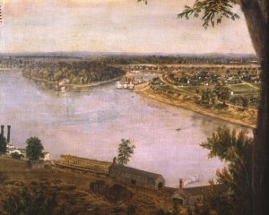 New Albany, Indiana, in the middle of the 19th century. The township stood on the north bank of the Ohio river, which during the Civil War marked the border between Union and Confederate territory.