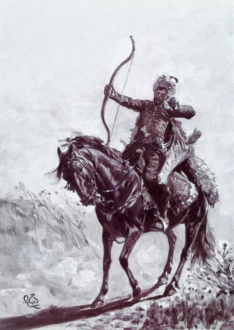 A Crimean Tatar warrior, wielding the celebrated recurved bow that was for centuries the main weapon of the Mongol and Tatar peoples. Raiding parties of such warriors, up to 30,000 strong, scoured the western steppes for prisoners almost annually throughout the medieval and early modern periods.