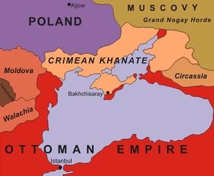 The Crimean Khanate and its immediate neighbours in 1600.