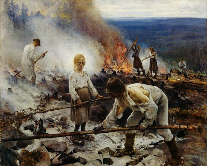 Raatajat rahanalaiset eli Kaski - Under the YOke (Burningthe Brushwqood) by Eero Jarnefelt - 1893 Forest finns