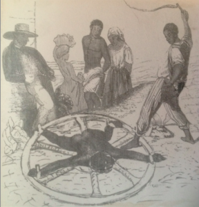 Prince Klaas lashed to the wheel - the image on display at the Museum of Antigua and Barbuda in St John's, Antigua.