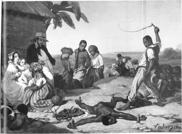 Marcel Verdier's 'Whipping of a fugitive slave' (1840s).
