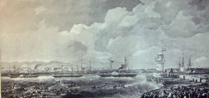 Victoria and Albert leave Kingstown (today Dún Laoghaire, the port of Dublin) for Belfast on 11 August 1849 – neatly avoiding any need to travel through the devastated Irish countryside.