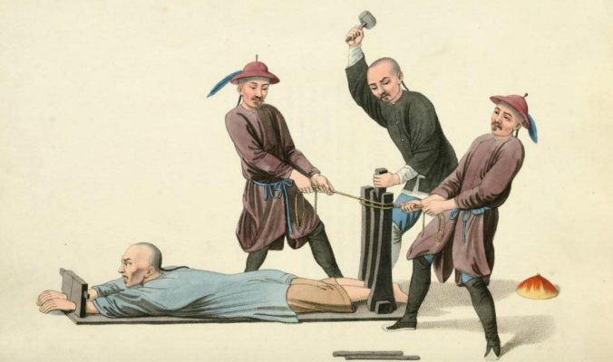 A prisoner is tortured in the ankle-press. From Mason & Dadley's The Punishments of China (1901).