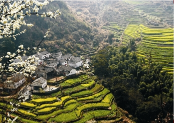 A landscape in mountainous Anhwei province, one of three controlled by Governor-General G'aojin.