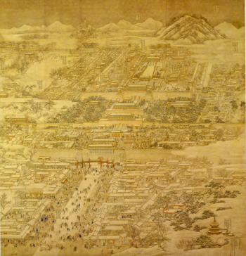 The Qing capital, Beijing, in 1767, the year before the soulstealing scare. This painting, by the court artist Xu Yang, shows the city's corth-south axis, from Coal Mountain to the north, south via the Forbidden City, with its Gate of Heavenly Peace, to the Zhengyang Gate, at the heart of the commercial sector, at the bottom of the image.