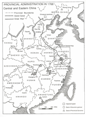 China in 1768, showing the provinces at the heart of the soulstealing panic (in box) and the course of the Grand Canal, along which the rumours seemed to spread. Click to view in higher resolution.