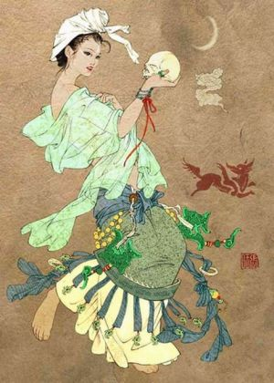 A Chinese fox spirit (hu xian). Such entities play a major part in Chinese folklore. They possess the power to transform into irresistibly seductive women and – in their natural form – and easily recognisable by their nine tail.