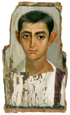 This mummy portrait – like many others – shows signs of having been cut down from its original size in order to fit its casing. One group of archaeologists have used this evidence to argue that the paintings were made from life, and only later adapted to funerary purposes.
