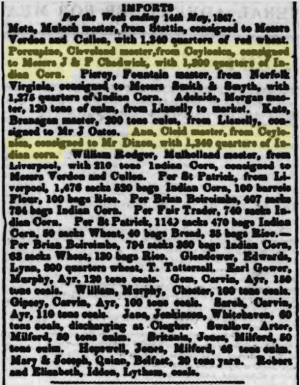 "The ""Imports"" column of the Drogheda Argus, 15 May 1847, notes the arrival of three foreign ships – including the two highlighted, which sailed from ""Ceylonica"" – modern Thessaloniki"