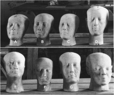 A group of false heads from an Old Kingdom tomb, excavated in 1913. They seem to have served much the same purpose as the Fayum paintings, produced 2,500 years later.
