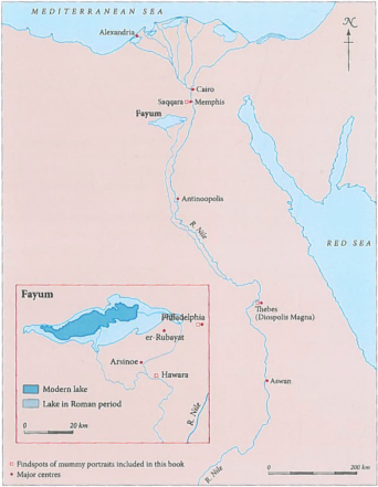 The Fayum oasis, showing the areas where the mummy portraits were found.