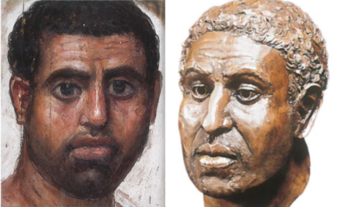 One of a pair of Fayum paintings which remain attached to their original mummies. The other [right] shows a woman who died young, sometime in her early 20s.